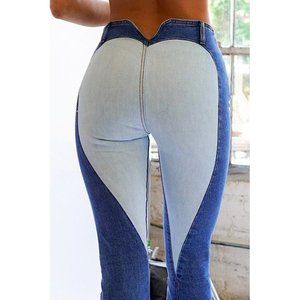 💖Heart Shaped Back Detail Stretch Denim Flare